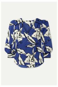 Veronica Beard - Milan Printed Silk-satin Jacquard Blouse - Blue