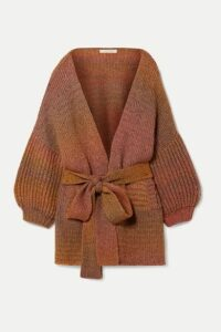 LoveShackFancy - Brady Belted Knitted Cardigan - Brick