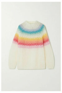 Rose Carmine - Striped Mohair-blend Sweater - White