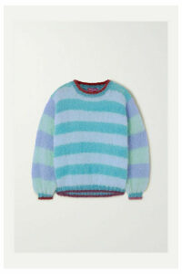 Rose Carmine - Lurex-trimmed Striped Mohair-blend Sweater - Blue