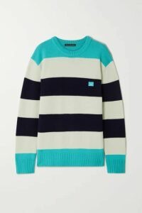 Acne Studios - Nimah Face Striped Wool Sweater - Turquoise