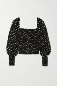 Reformation - Pinto Smocked Floral-print Woven Top - Black