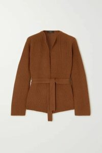 Theory - Belted Ribbed Wool And Cashmere-blend Cardigan - Camel