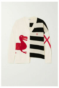 Loewe - Oversized Frayed Asymmetric Intarsia Wool-blend Sweater - Off-white