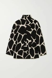 Valentino - Printed Wool And Silk-blend Crepe Top - Black