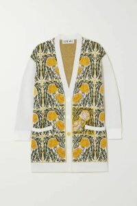 Loewe - Oversized Intarsia Wool-blend Cardigan - White