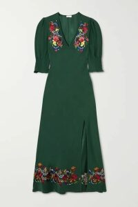 RIXO - Carmen Embellished Embroidered Crepe Midi Dress - Dark green