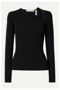 Helmut Lang - Cutout Ribbed-knit Top - Black