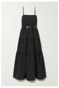 NICHOLAS - Kerala Belted Tiered Cotton-poplin Maxi Dress - Black