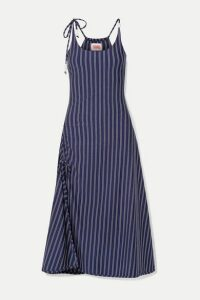 Solid & Striped - Bead-embellished Ruched Striped Stretch-jersey Midi Dress - Navy