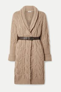 Brunello Cucinelli - Oversized Belted Cable-knit Cashmere Cardigan - Camel
