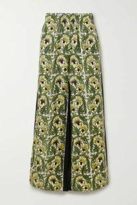 Loewe - Printed Silk-twill And Crepe Wide-leg Pants - Yellow