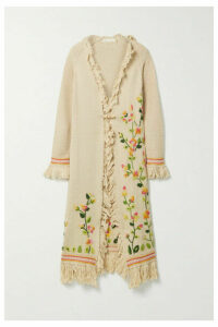 LoveShackFancy - Valencia Fringed Embroidered Knitted Cardigan - Beige