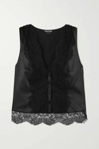 TOM FORD - Lace-paneled Silk-blend Charmeuse Top - Black