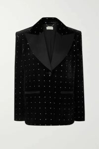 Magda Butrym - Amsterdam Silk-satin Trimmed Crystal-embellished Velvet Blazer - Black
