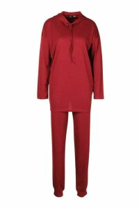 Womens Tall Rib Knit Hoody & Jogger Lounge Set - red - 14, Red