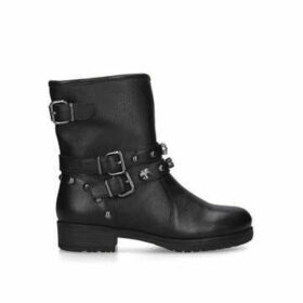 Carvela Soulful Bling - Black Studded Leather Biker Boots