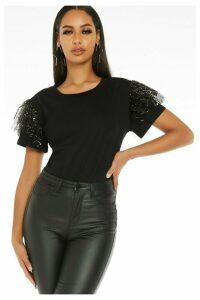 Black Sequin Mesh Sleeve Top