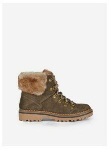Womens Khaki 'Monnie' Lace Up Hiker Boots, Khaki