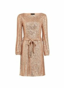 Womens Rose Gold Breast Cancer Care Sequin Belted Fit And Flare Dress, Rose Gold