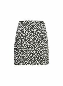 Womens Monochrome Printed Jacquard Mini Skirt - Black, Black
