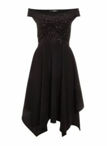 Womens *Quiz Black Hanky Hem Midi Dress, Black