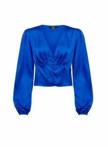 Womens **Lola Skye Blue Button Through Satin Blouse- Cobalt, Cobalt