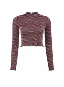 Womens **Lola Skye Pink Glitter High Neck Top, Pink