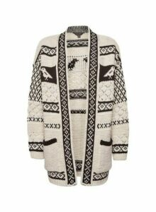 Womens Cream Chunky Bird Pattern Knitted Cardigan, Cream