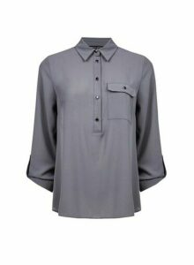 Womens Charcoal Roll Sleeve Shirt- Grey, Grey