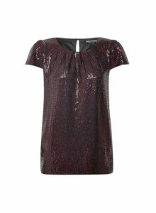 Womens **Billie & Blossom Red Short Sleeve Foil Shell Top, Red