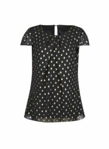 Womens Billie & Blossom Tall Black And Gold Spot Shell Top, Black