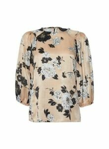 Womens Champagne Floral Print Balloon Sleeve Top- White, White