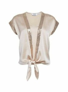 Womens Petite Nude Sequin Trim Tie Front Tee- White, White