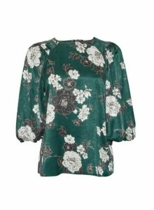 Womens Green Floral Balloon Sleeve Top, Green