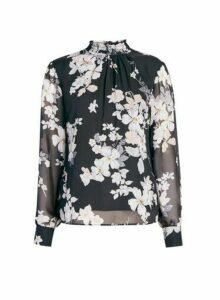 Womens Black Foil Floral Print Shirred Neck Top, Black