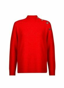 Womens Petite Red High Neck Jumper, Red