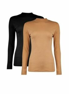 Womens 2 Pack Black Funnel Neck Camel Cotton Top, Black