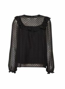 Womens Black Dobby Ruffle Top, Black