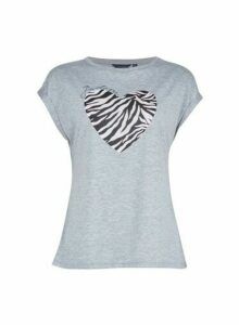 Womens Breast Cancer Care J'Dore Grey Zebra Print Logo T-Shirt, Grey