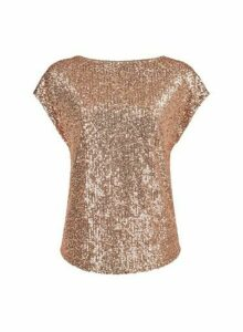 Womens Breast Cancer Care Rose Gold Sequin T-Shirt, Rose Gold