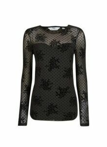 Womens Tall Black Floral And Spot Mesh Top, Black