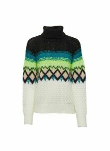 Womens Cream Neon Fairisle Roll Neck Jumper, Cream