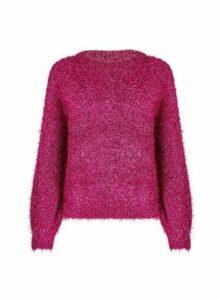 Womens Petite Fuchsia Tinsel Jumper- Pink, Pink