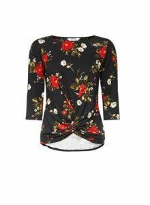 Womens Multi Colour Rose Print Jersey Twist Top- Black, Black