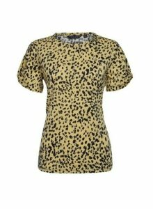 Womens Organic Cotton Yellow Animal Print Twist Sleeve T-Shirt - Cream, Cream