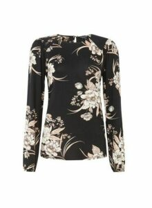 Womens Black Floral Printed Puff T-Shirt, Black