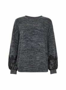Womens Charcoal Lace Sleeve Jumper- Grey, Grey