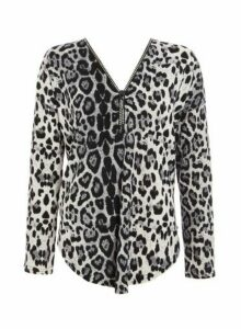 Womens Quiz Grey Light Knit Leopard Print Zip Top, Grey