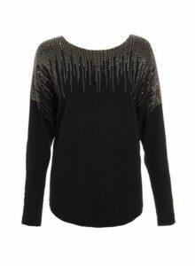 Womens *Quiz Black Light Knit Diamante Jumper, Black